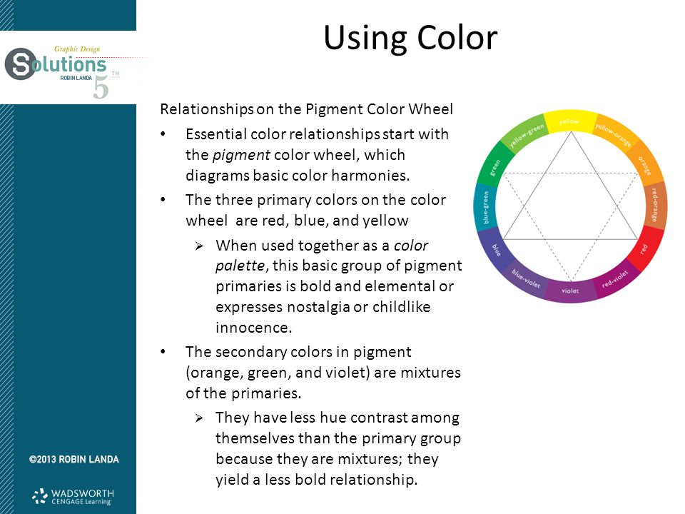 Using Color Relationships on the Pigment Color Wheel