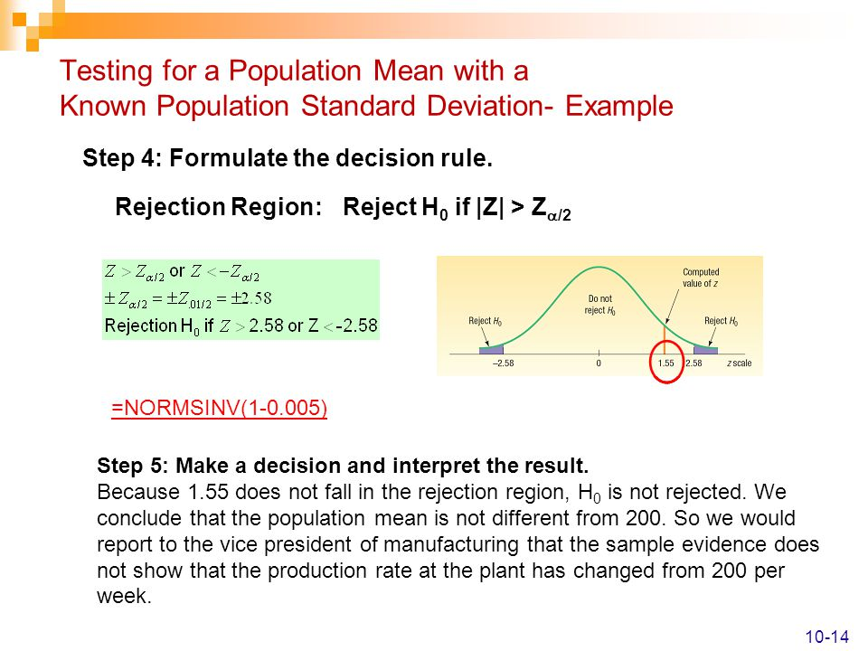 Testing for a Population Mean with a Known Population Standard Deviation- Example