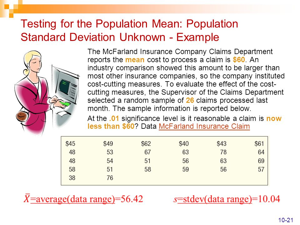 Testing for the Population Mean: Population Standard Deviation Unknown - Example