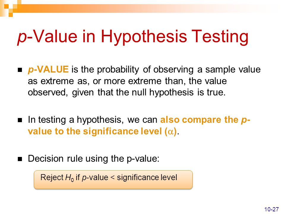 p-Value in Hypothesis Testing