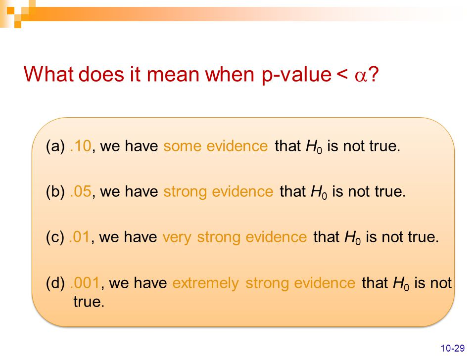 What does it mean when p-value < 