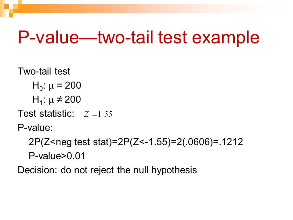 P-value—two-tail test example