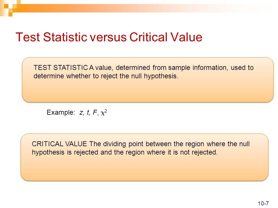 Test Statistic versus Critical Value