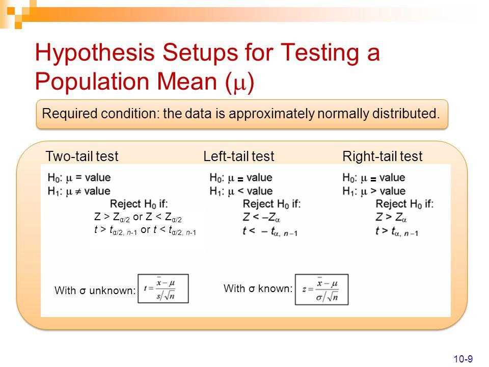Hypothesis Setups for Testing a Population Mean ()