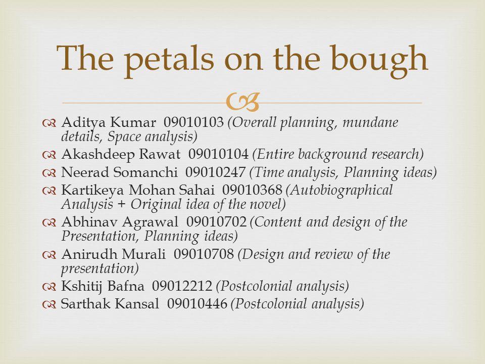 The petals on the bough Aditya Kumar 09010103 (Overall planning, mundane details, Space analysis)