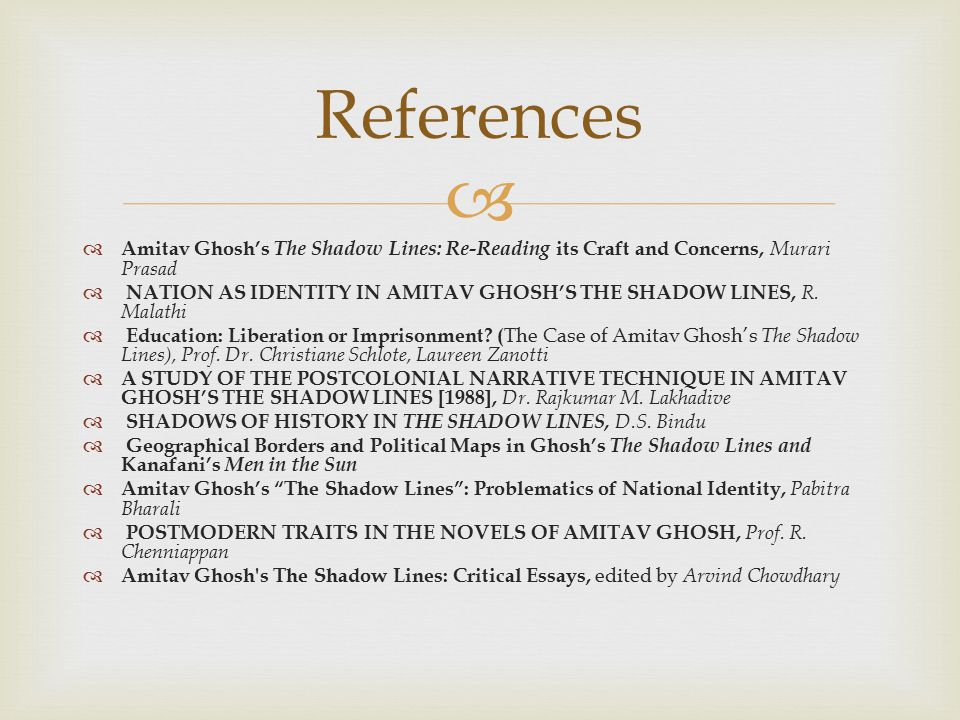 References Amitav Ghosh's The Shadow Lines: Re-Reading its Craft and Concerns, Murari Prasad.