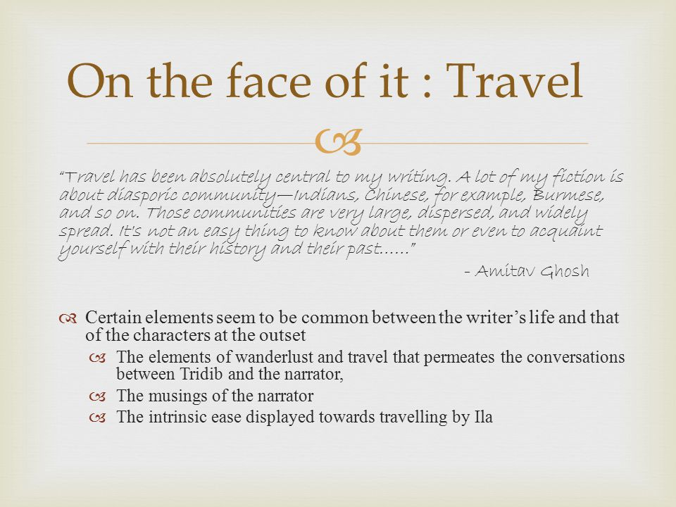 On the face of it : Travel