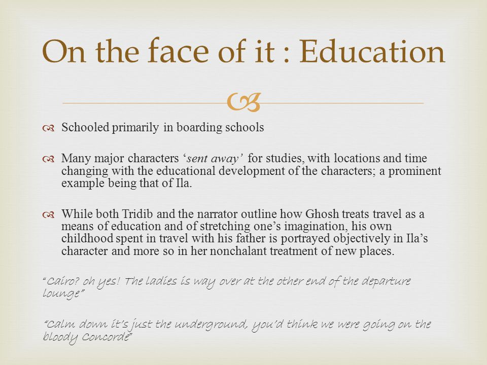 On the face of it : Education