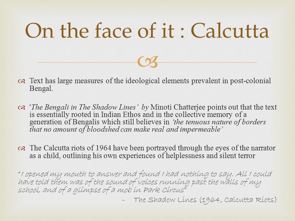 On the face of it : Calcutta
