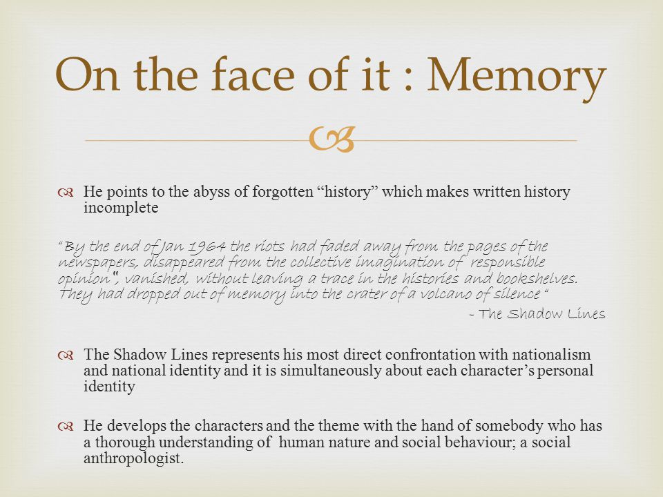 On the face of it : Memory