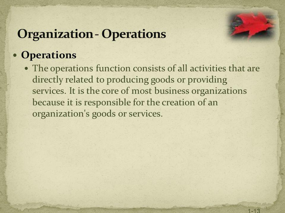 Organization - Operations