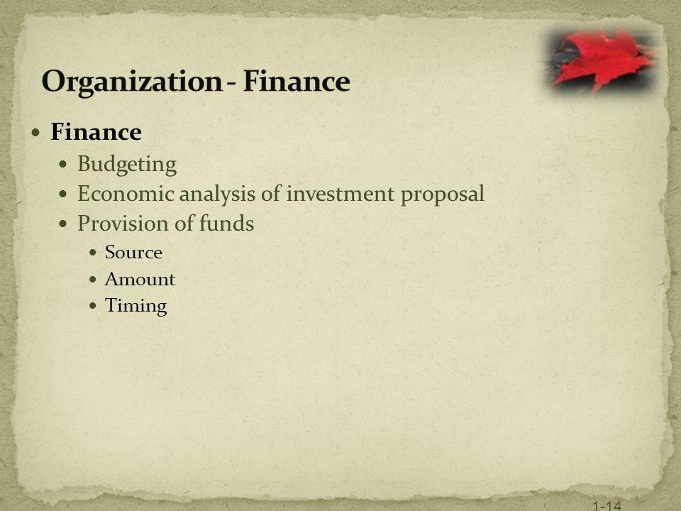 Organization - Finance