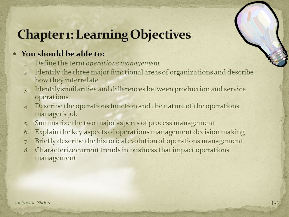 Chapter 1: Learning Objectives