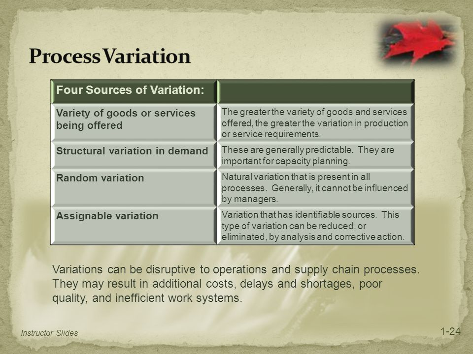 Process Variation Four Sources of Variation: