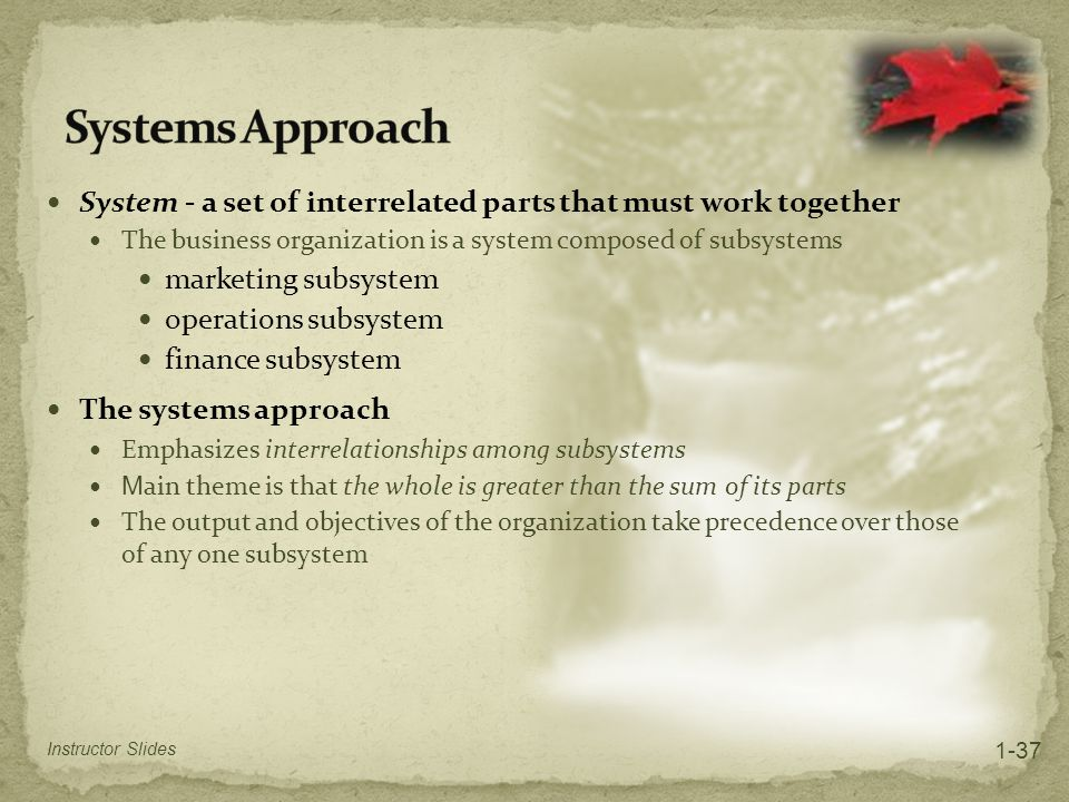 Systems Approach System - a set of interrelated parts that must work together. The business organization is a system composed of subsystems.