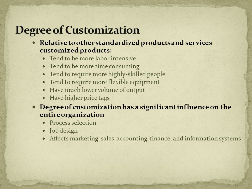 Degree of Customization
