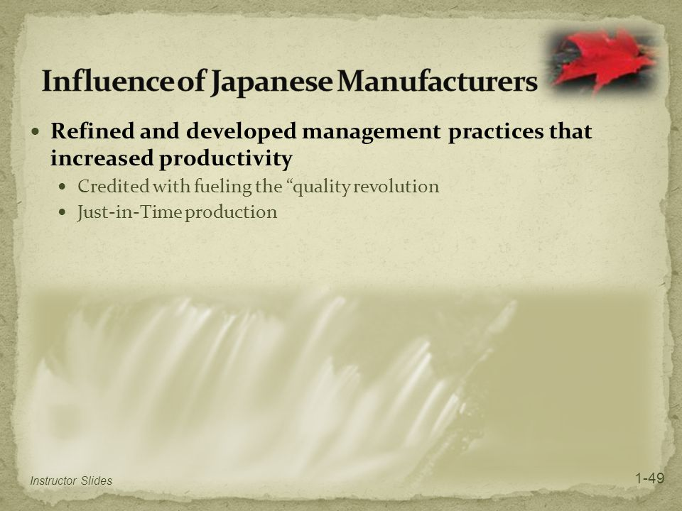Influence of Japanese Manufacturers