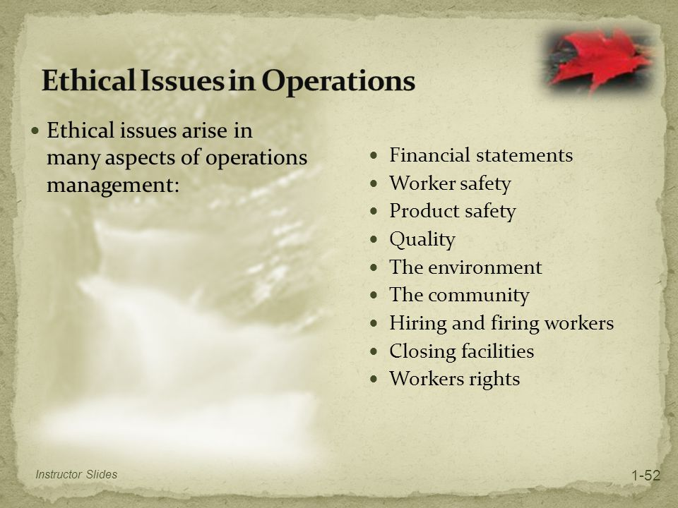 Ethical Issues in Operations