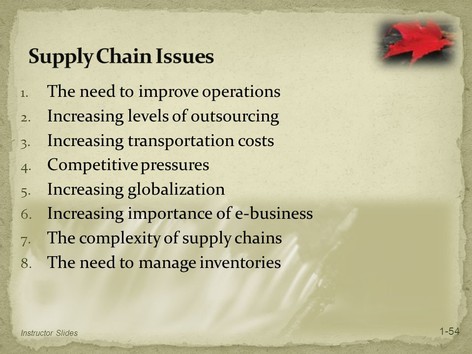 Supply Chain Issues The need to improve operations