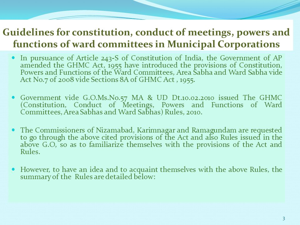 Guidelines for constitution, conduct of meetings, powers and functions of ward committees in Municipal Corporations