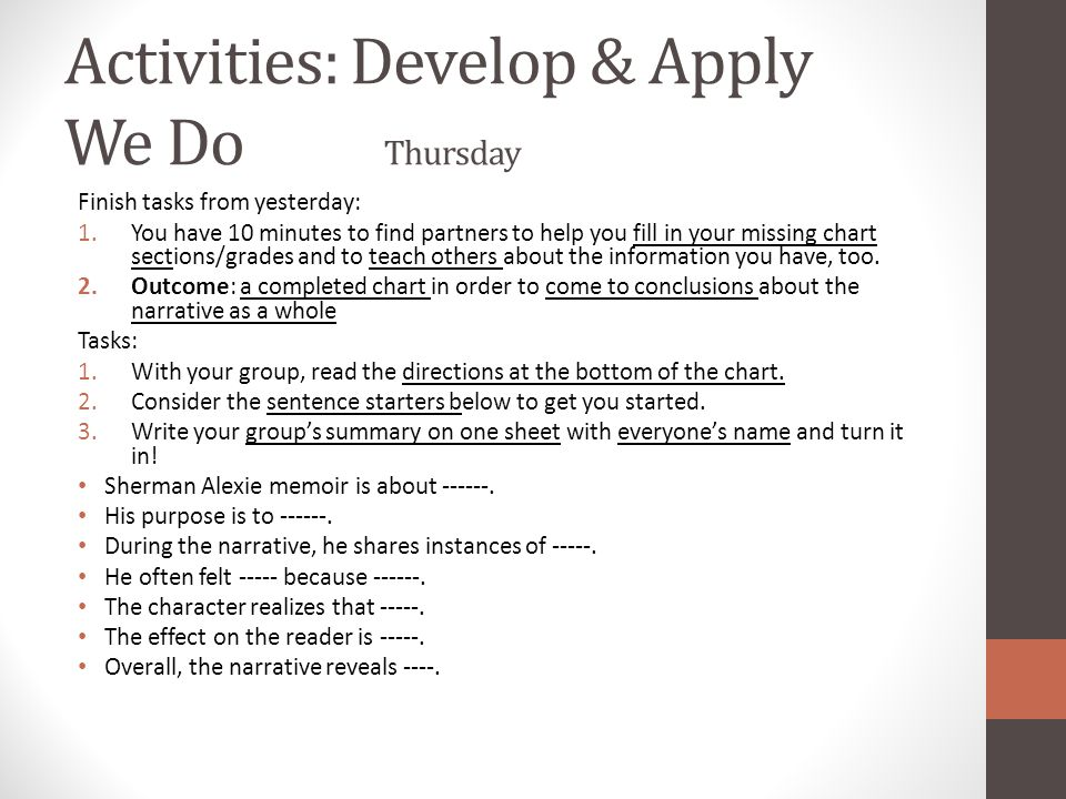 Activities: Develop & Apply We Do Thursday