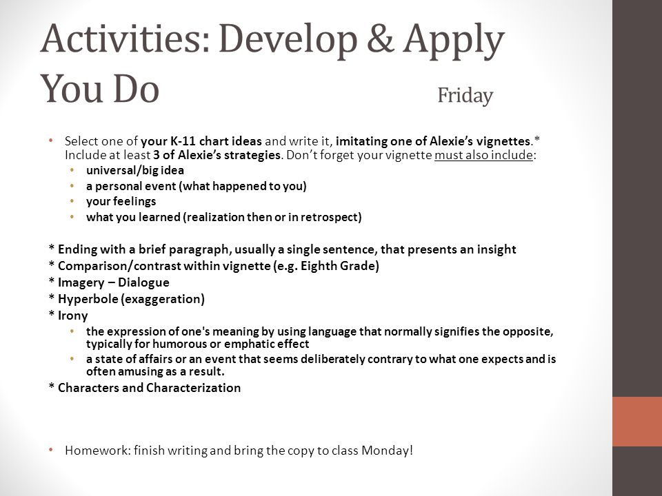 Activities: Develop & Apply You Do Friday