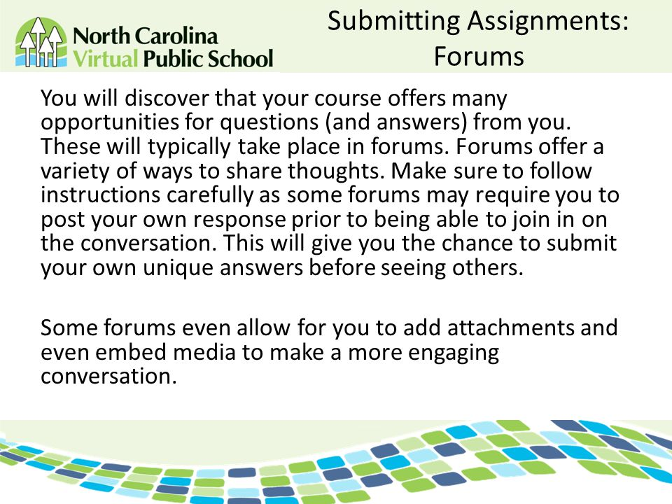 Submitting Assignments: Forums