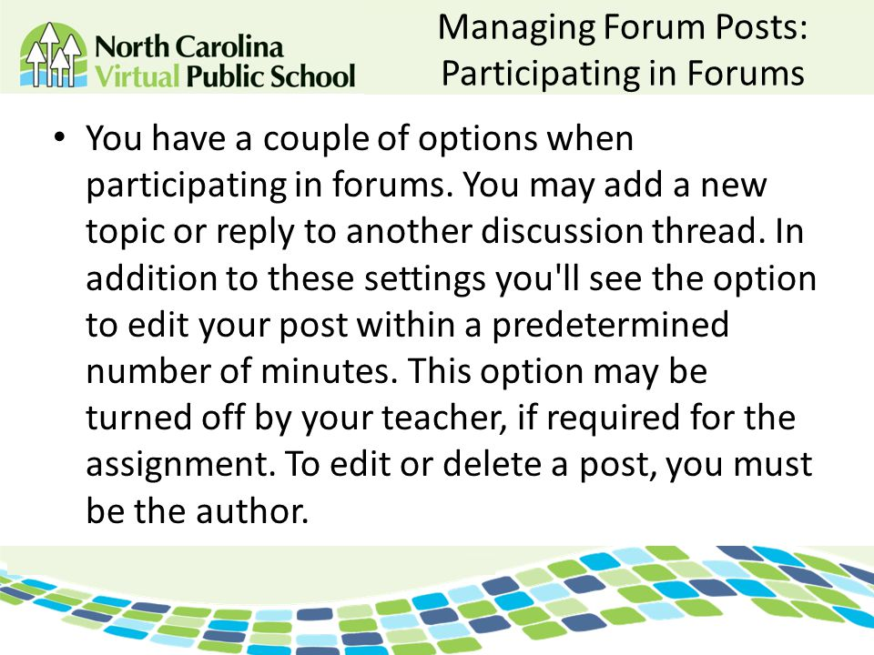 Managing Forum Posts: Participating in Forums