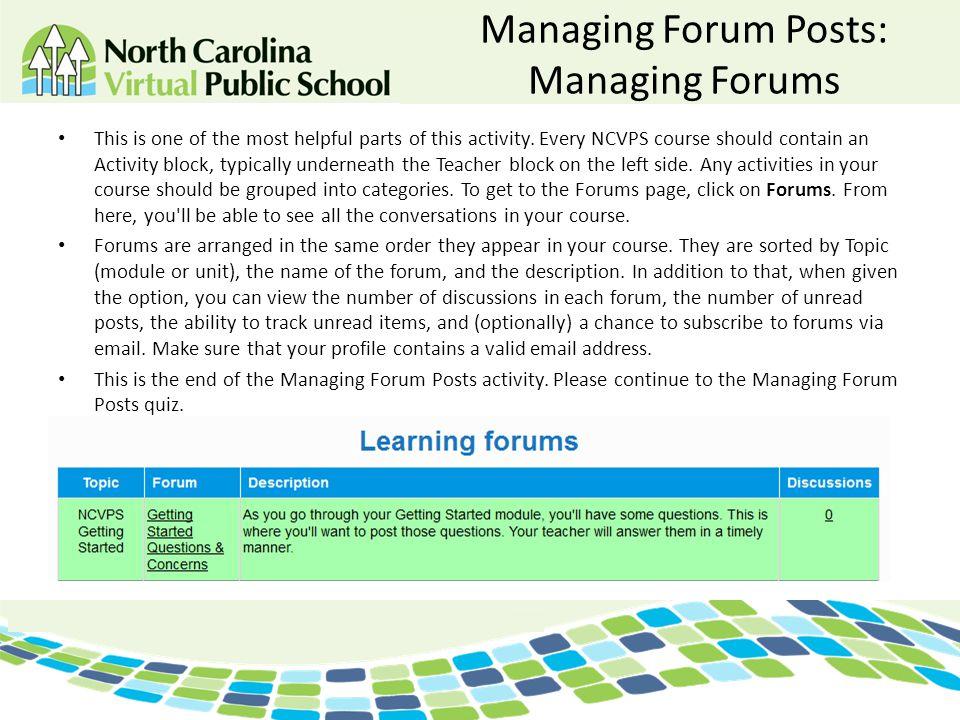 Managing Forum Posts: Managing Forums