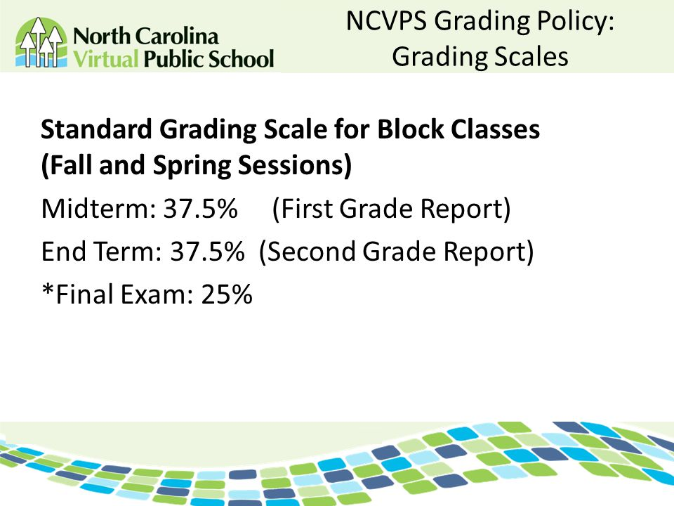 NCVPS Grading Policy: Grading Scales