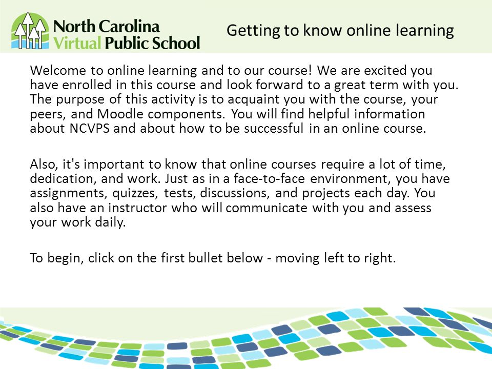 Getting to know online learning