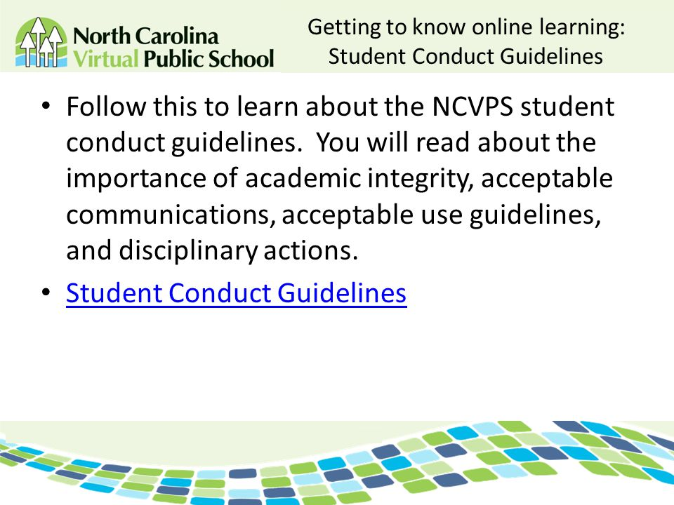 Getting to know online learning: Student Conduct Guidelines