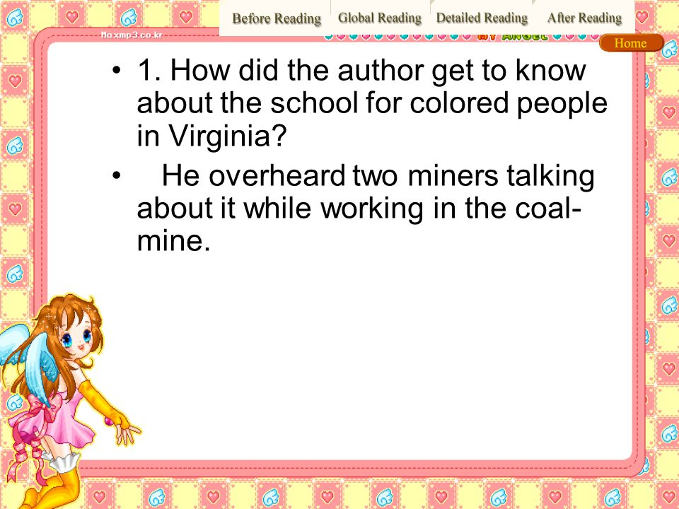 1. How did the author get to know about the school for colored people in Virginia