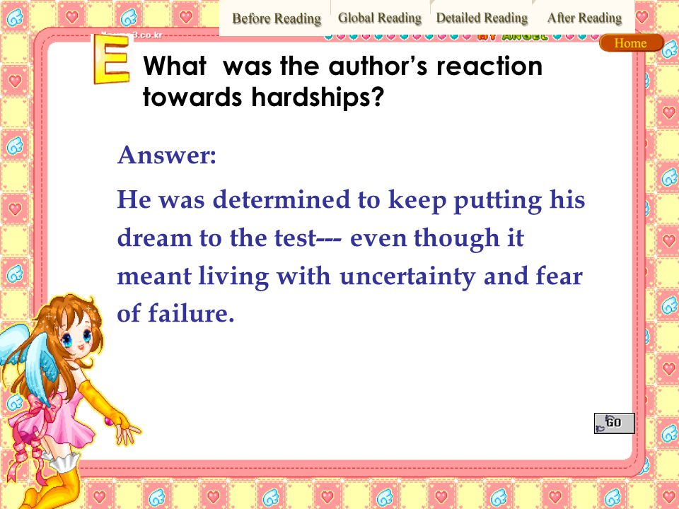 What was the author's reaction towards hardships