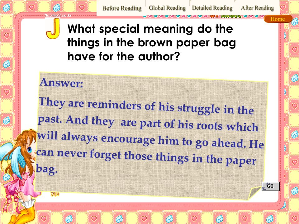 What special meaning do the things in the brown paper bag have for the author