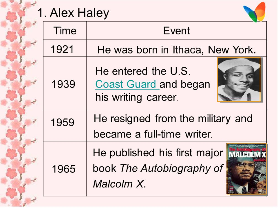 1. Alex Haley Time Event 1921 He was born in Ithaca, New York.