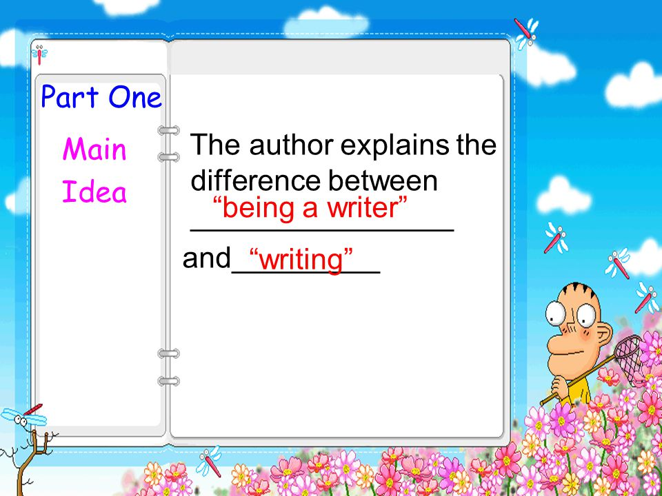 Part One The author explains the difference between ________________. and_________. Main. Idea.