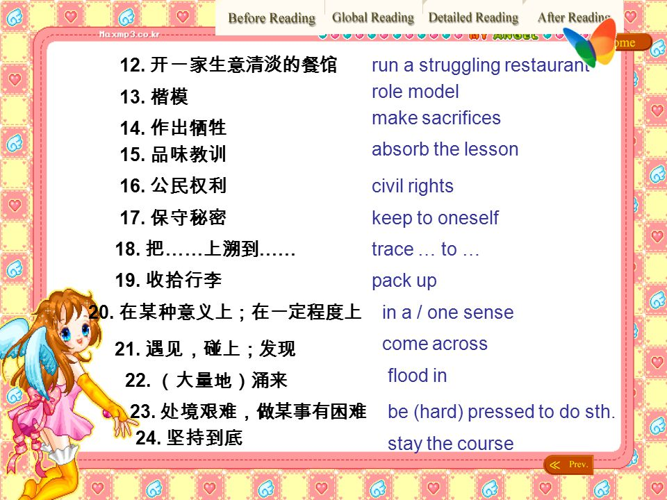 12. 开一家生意清淡的餐馆 run a struggling restaurant. role model. 13. 楷模. make sacrifices. 14. 作出牺牲. absorb the lesson.