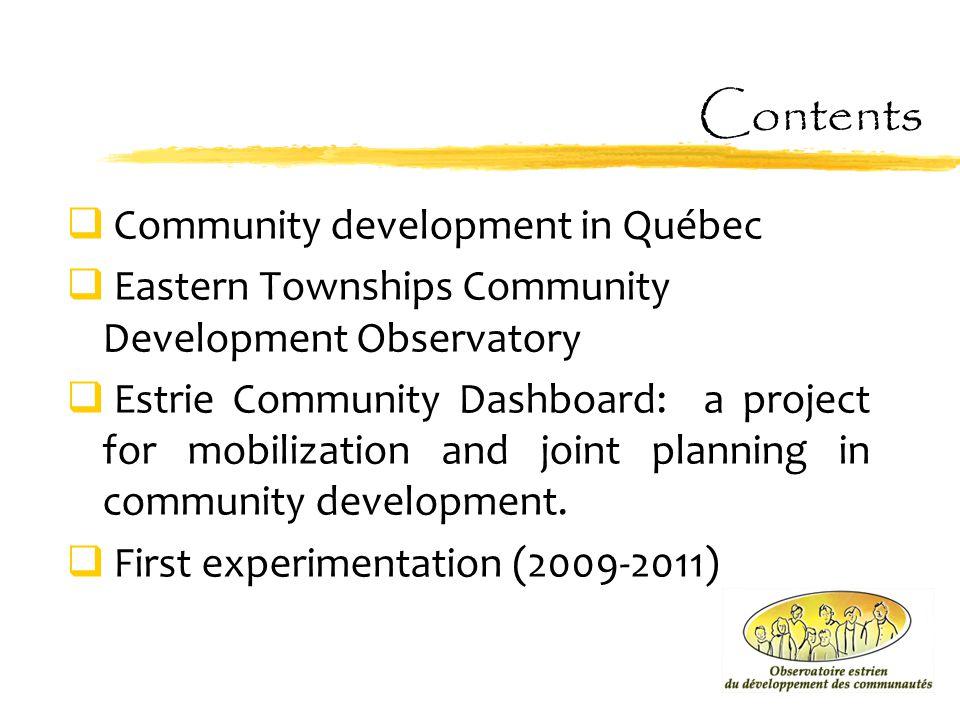 Contents Community development in Québec