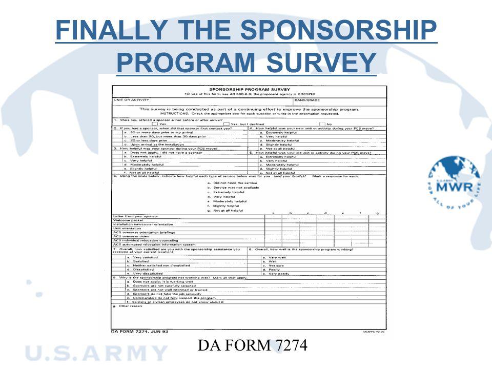 FINALLY THE SPONSORSHIP PROGRAM SURVEY