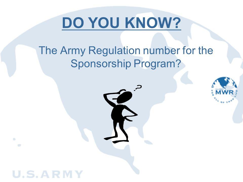 The Army Regulation number for the Sponsorship Program