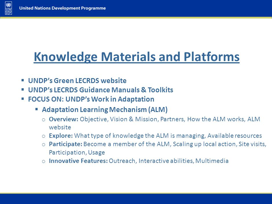 UNDP's Green LECRDS website