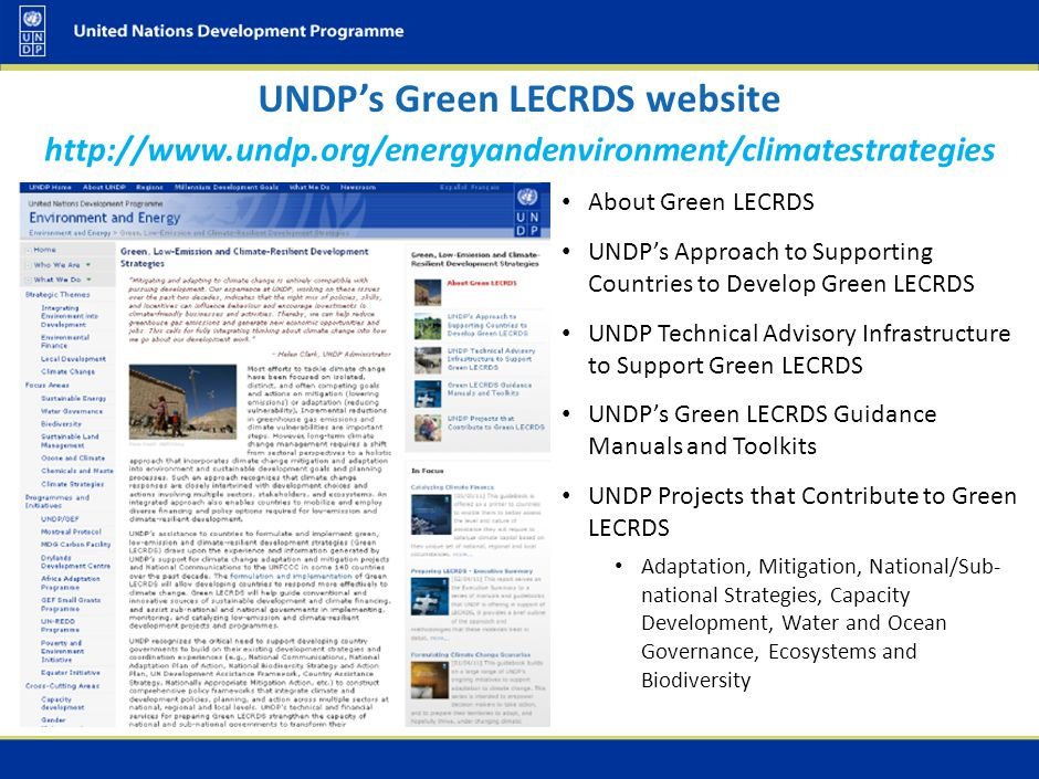 UNDP Green LECRDS Guidance Manuals & Toolkits
