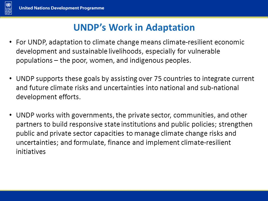 UNDP's Work in Adaptation