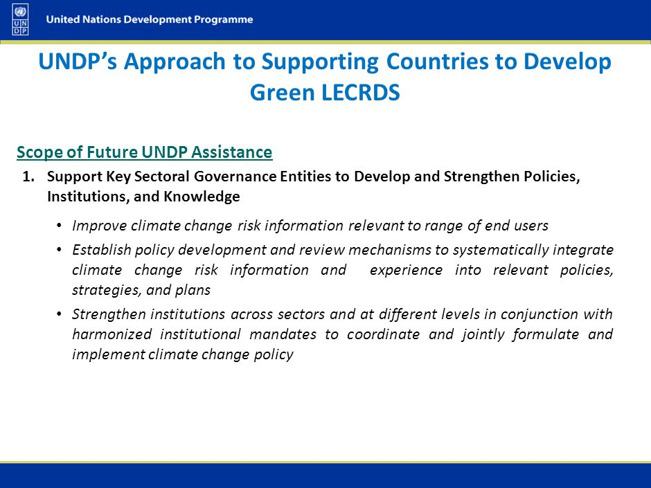 UNDP's Approach to Supporting Countries to Develop Green LECRDS