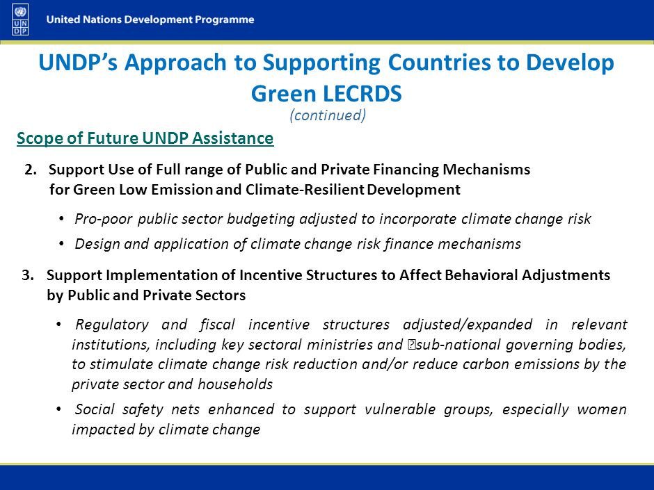 UNDP's Experience in Contributing to Green LECRDS