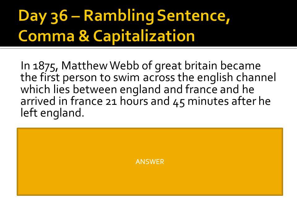 Day 36 – Rambling Sentence, Comma & Capitalization