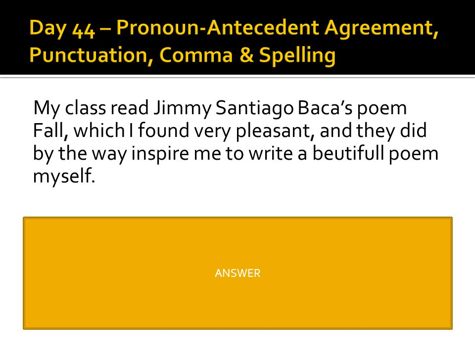 Day 44 – Pronoun-Antecedent Agreement, Punctuation, Comma & Spelling