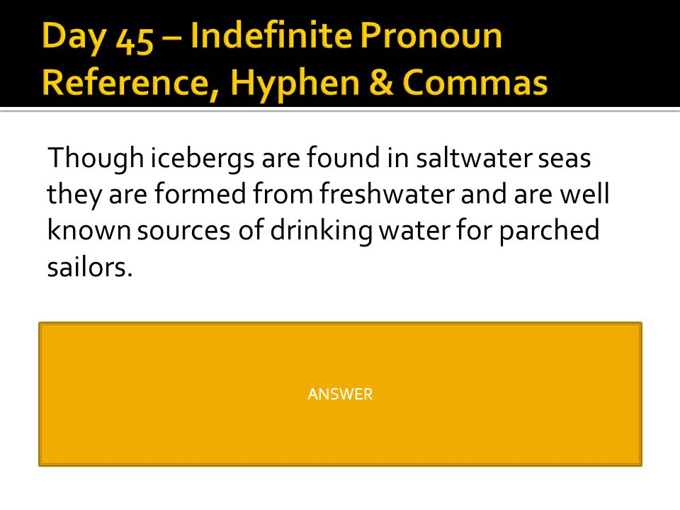 Day 45 – Indefinite Pronoun Reference, Hyphen & Commas