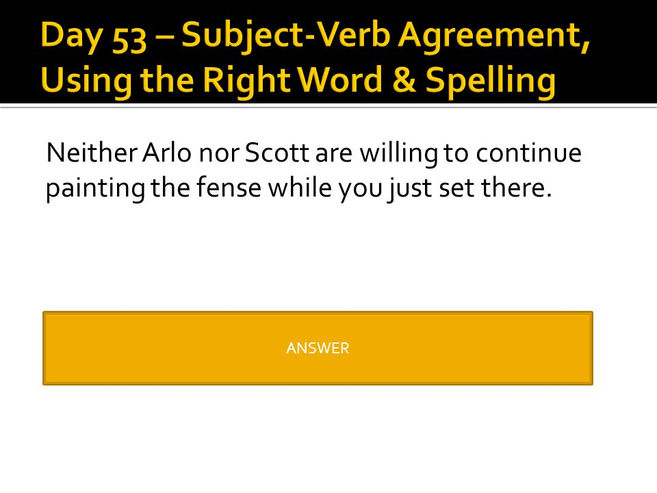 Day 53 – Subject-Verb Agreement, Using the Right Word & Spelling